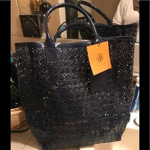 2 bags tory burch plastic shopper bag